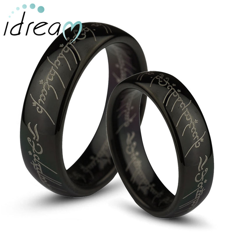 Black Lord of The Rings Laser Engraved Tungsten Wedding Bands Set, Domed Tungsten Carbide LOTR One Ring - 4mm - 8mm, Matching His and Hers Jewelry for Couples