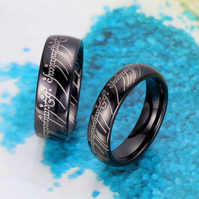 black lord of the rings laser engraved tungsten wedding bands set domed tungsten carbide lotr one ring 4mm 8mm matching his and hers jewelry for - Lotr Wedding Ring