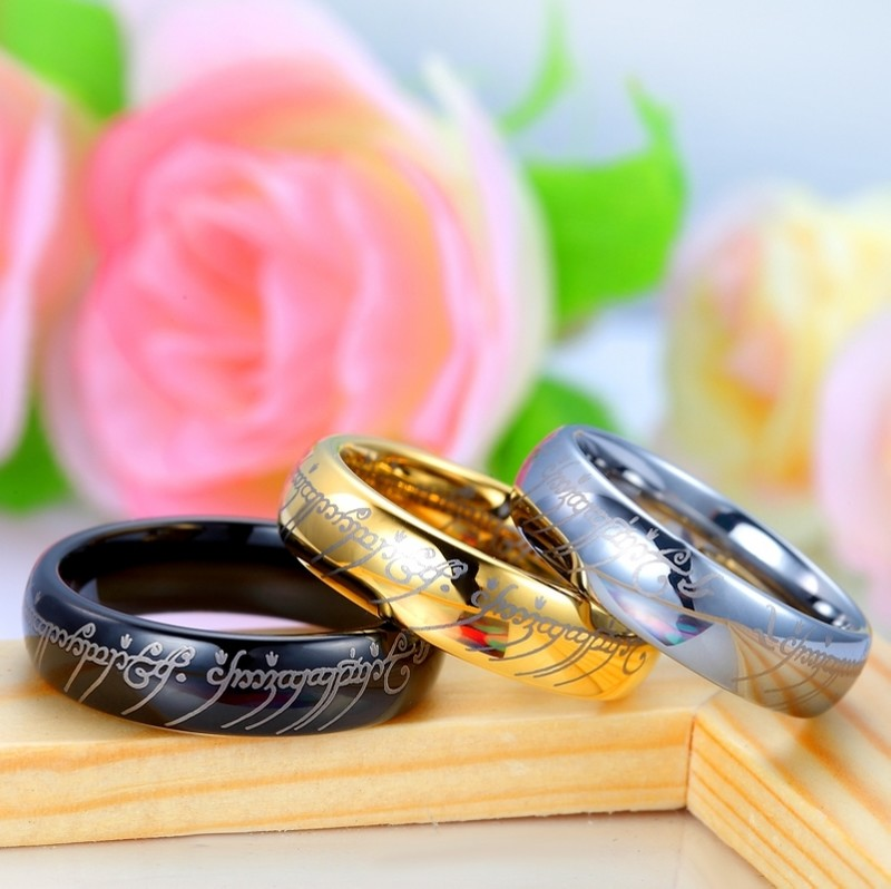black lord of the rings laser engraved tungsten wedding bands set domed tungsten carbide lotr one ring 4mm 8mm matching his and hers jewelry for - Lord Of The Rings Wedding Rings