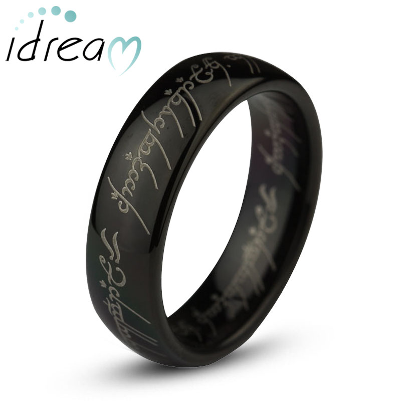 Black LOTR One Ring Tungsten Wedding Band, Domed Lord of The Rings Tungsten Carbide Wedding Ring Band - 4mm - 8mm, Matching Couple Jewelry Set for Him and Her