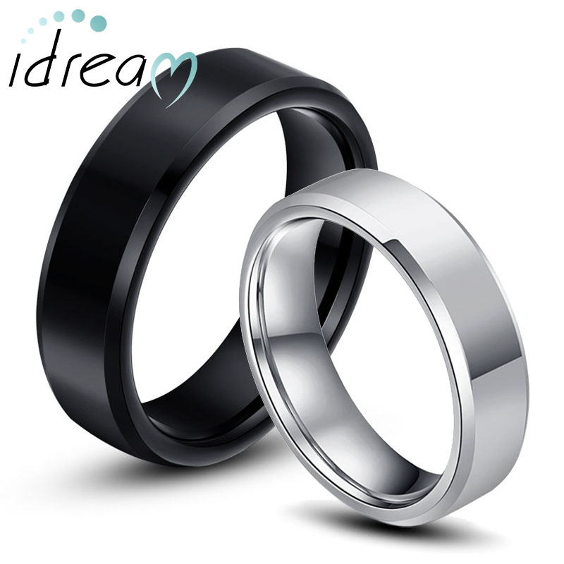 Black White Tungsten Wedding Bands Set for Women and Men Beveled