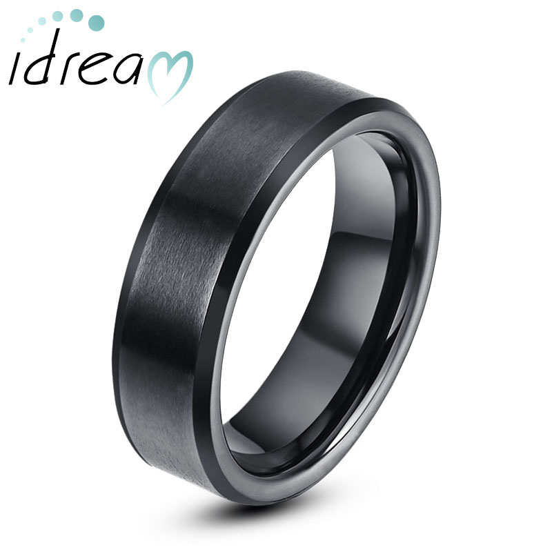 Black Tungsten Wedding Band, Tungsten Carbide Wedding Ring Band with Brushed Center & Beveled Edges - 4mm - 8mm, Matching Couple Jewelry Set for Him and Her