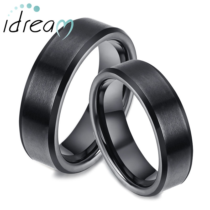 black tungsten wedding bands set flat beveled edges tungsten carbide wedding bands for men and. Black Bedroom Furniture Sets. Home Design Ideas