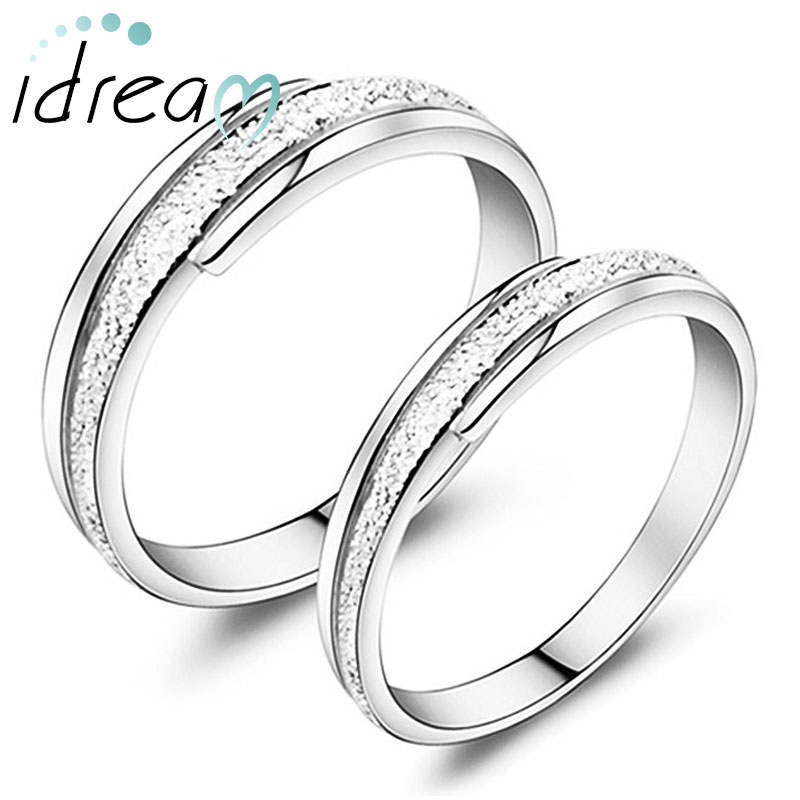 Hammered Center Polished Edges Couple Promise Rings Set 925