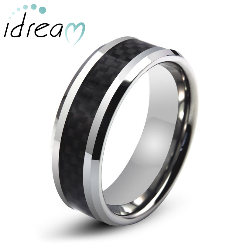 Black Carbon Fiber Inlay Tungsten Wedding Band, Tungsten Carbide Wedding Ring with Beveled Edges - 6mm - 8mm, Matching Couples Jewelry Set for Him and Her
