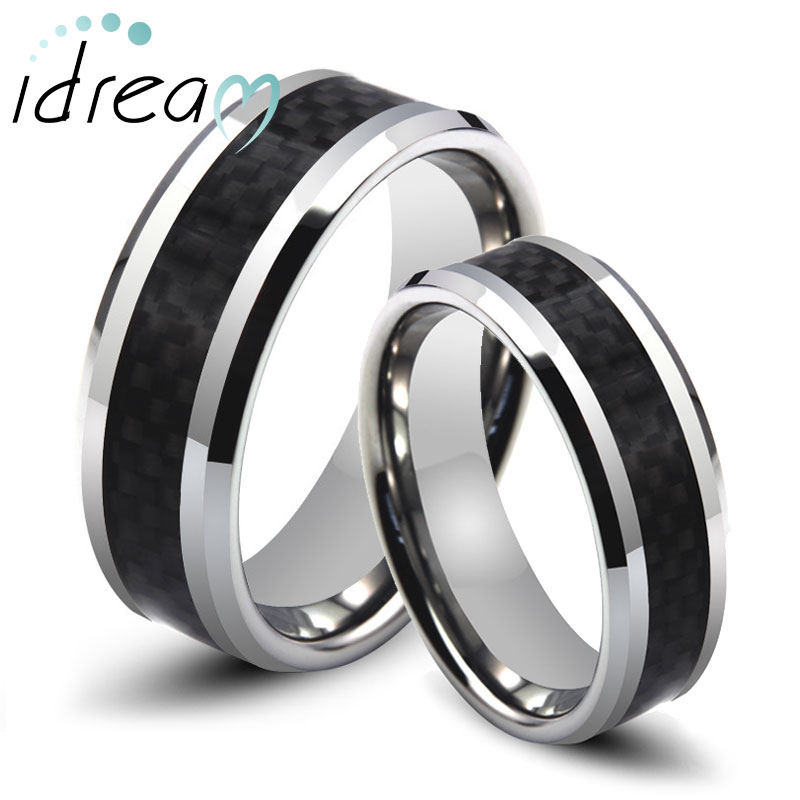 Carbon Fiber Inlaid Tungsten Wedding Bands Sets For Men Women Beveled Edge