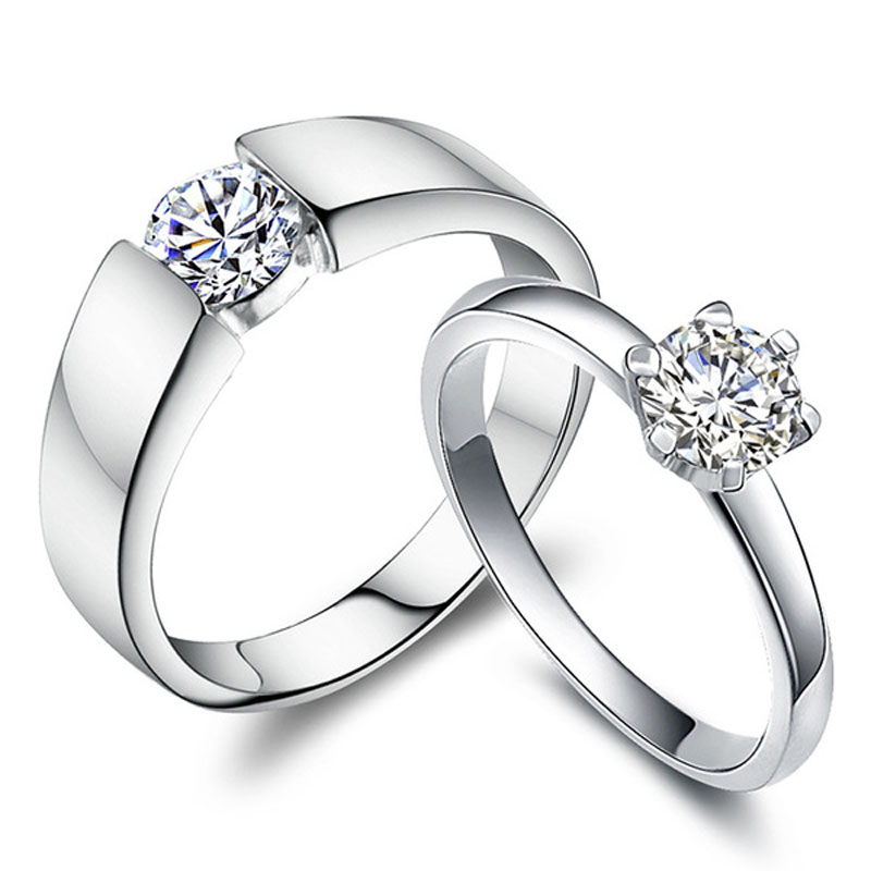 Cubic Zirconia Diamond Couples Rings Set for Women and Men, Engagement / Wedding / Promise Rings in Sterling Silver, Matching His and Hers Jewelry for Couples