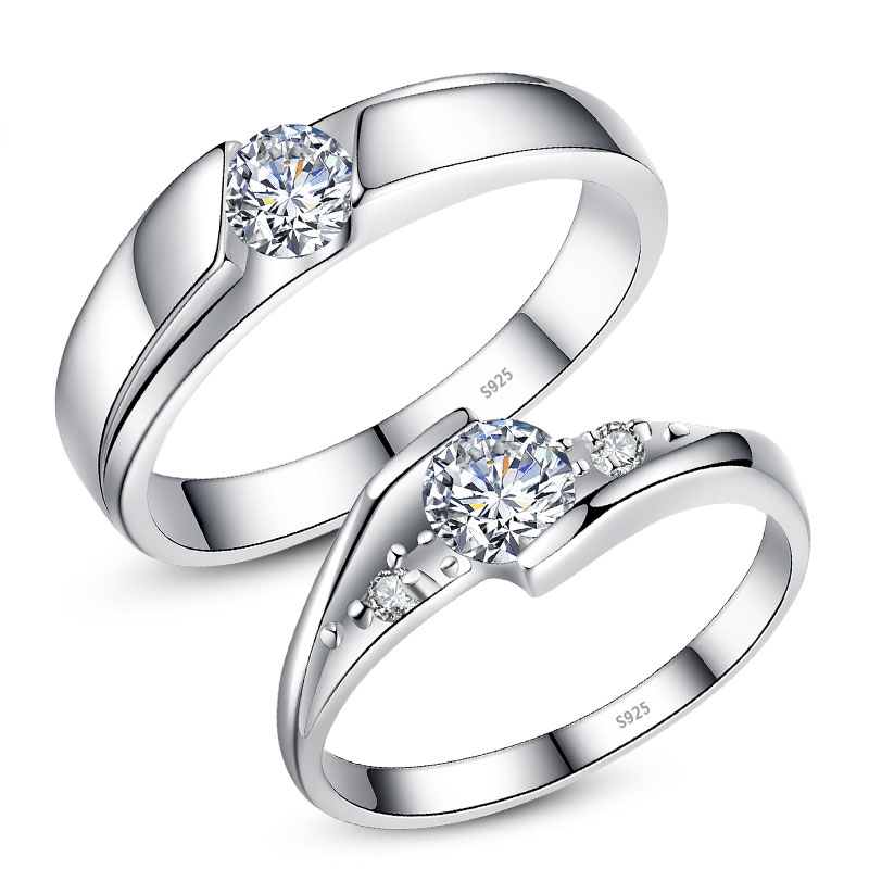 Cubic Zirconia Diamond Eternity Promise Rings For Couples Sterling Silver Engagement Rings Set For Women And Men Matching Couples Jewelry For Him And Her Idream Jewelry