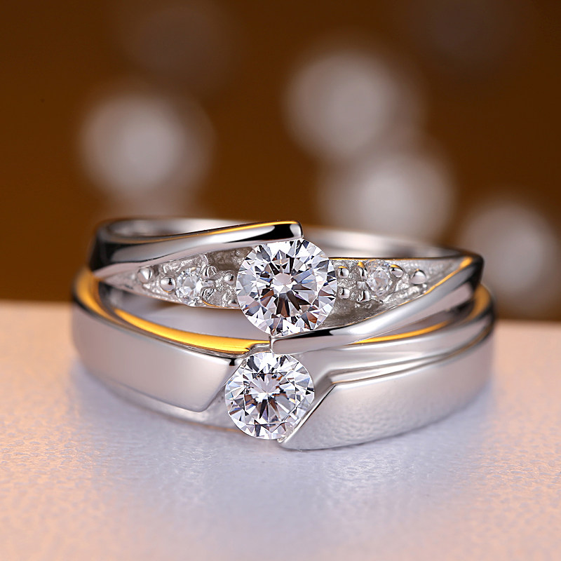 cubic zirconia diamond eternity promise rings for couples