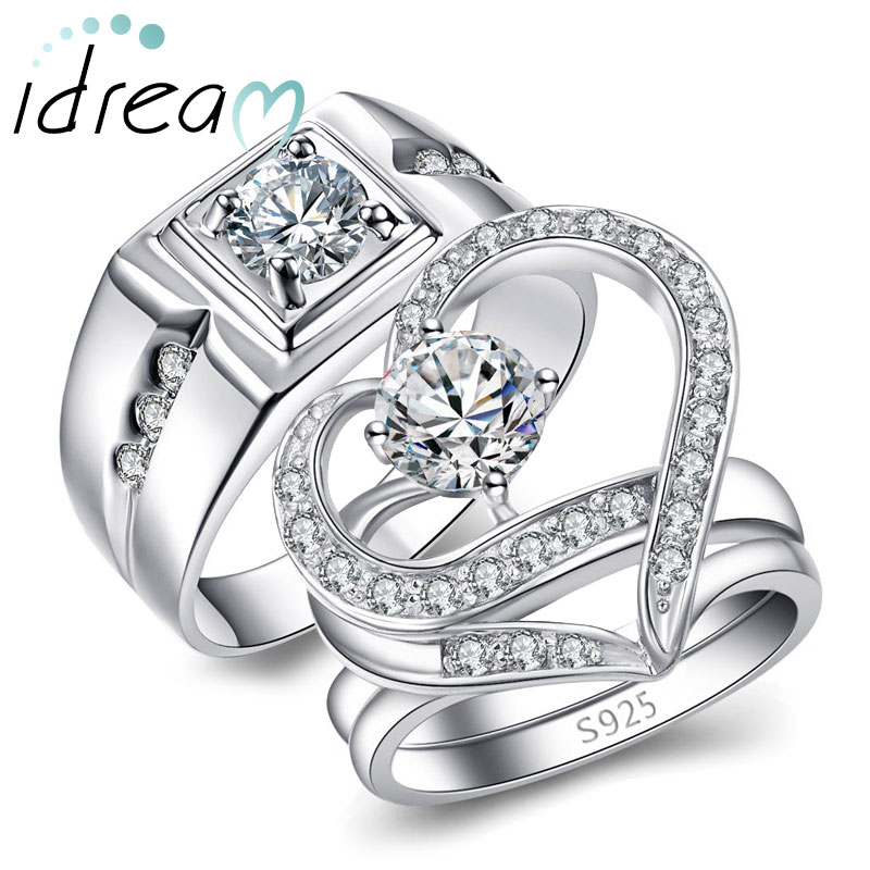 Cubic Zirconia Diamond Engagement Rings Set For Men And Women Unique Open Heart Promise Ring