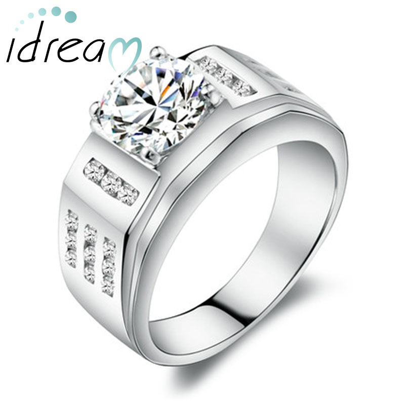 Cubic Zirconia Diamond Mens Engagement Ring Polished Sterling