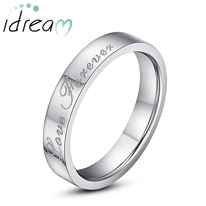 Tungsten Wedding Bands Love Forever Engraved Flat Domed Carbide Ring For Women