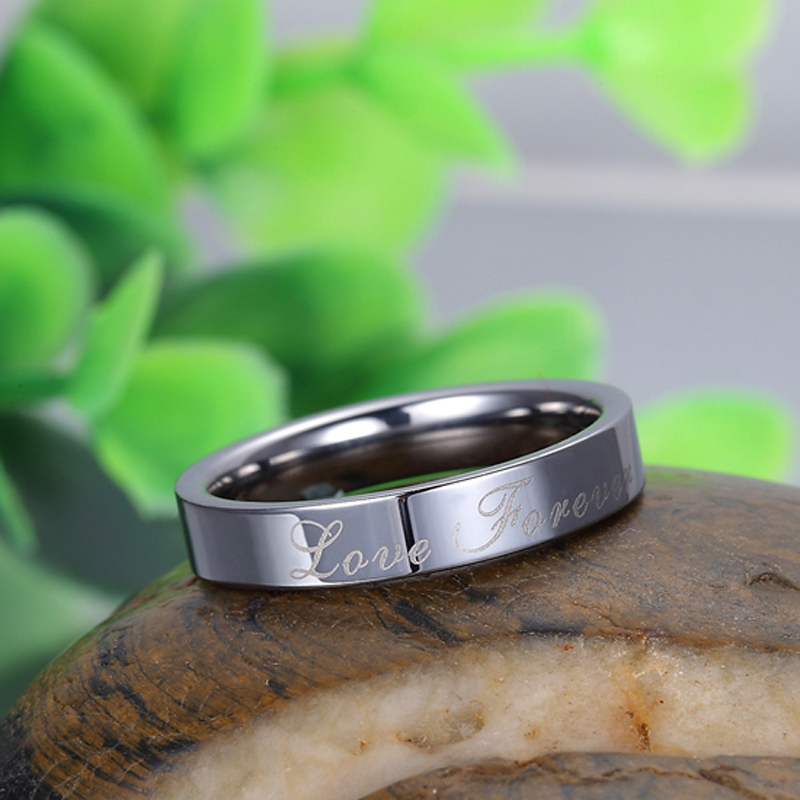 Tungsten Wedding Bands Love Forever Engraved Flat Domed Tungsten Carbide W