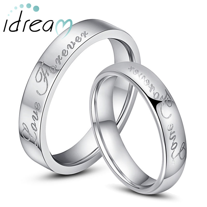 Love Forever Engraved Tungsten Wedding Bands Flat Domed Carbide Rings Set For