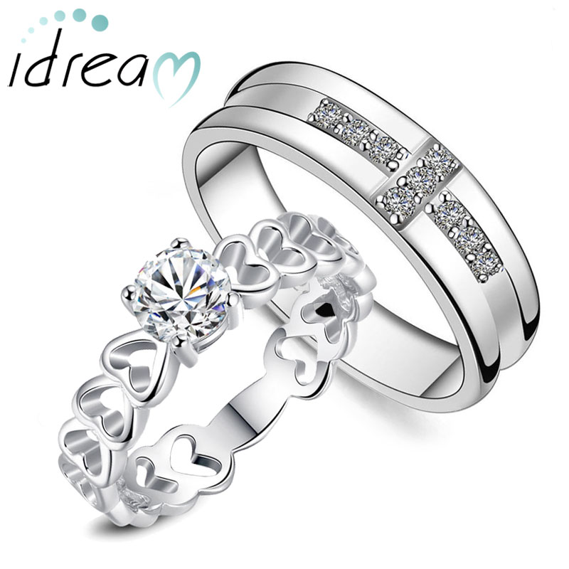 CZ Diamond Cross Wedding Band and Heart Link Engagement Ring Set