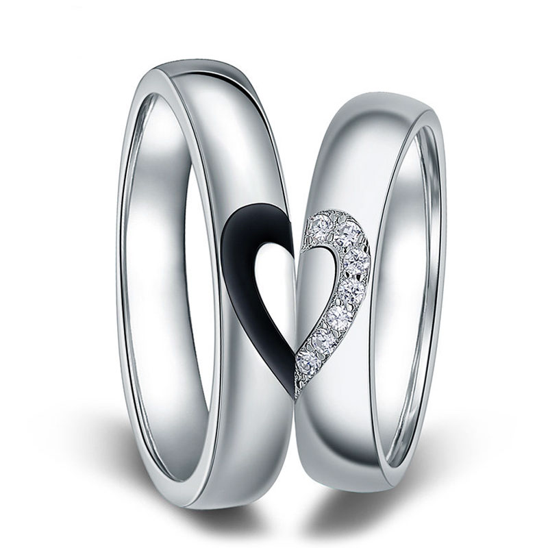 Black Baking Cz Diamond Rings For Women Men Two Half Hearts Puzzle
