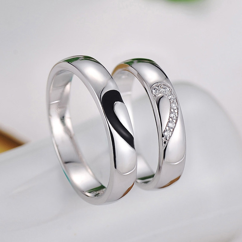 Black Baking CZ Diamond Couple Rings for Women & Men Two Half Hearts P