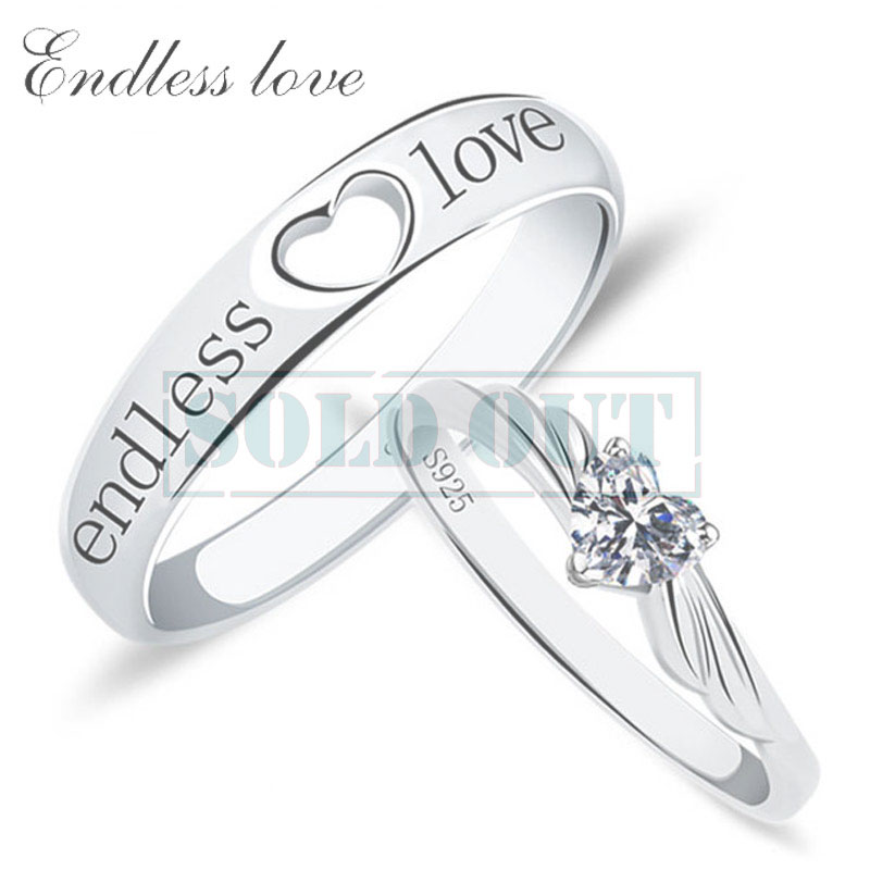 Adjustable Open Heart Black Endless Love Engraved Wedding Band + Heart-Cut Diamond Angel Wing Engagement Ring Set , Matching Couple Promise Rings for Him and Her