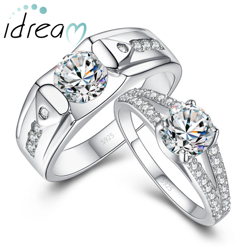 Cubic Zirconia Diamond Engagement Rings Set for Men and Women, Engravable Unique Promise Ring in 925 Sterling Silver, Matching Couples Jewelry for Him and Her