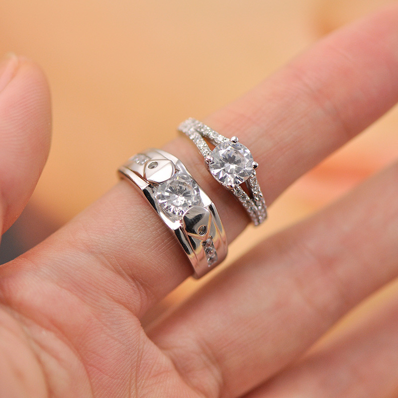 Cubic Zirconia Diamond Engagement Rings Set for Men and Women ...
