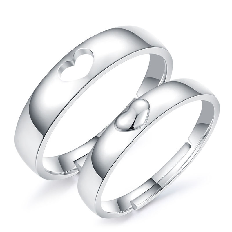 Adjule Domed Heart Promise Rings For S Personalized Cute Open Wedding Ring Band In