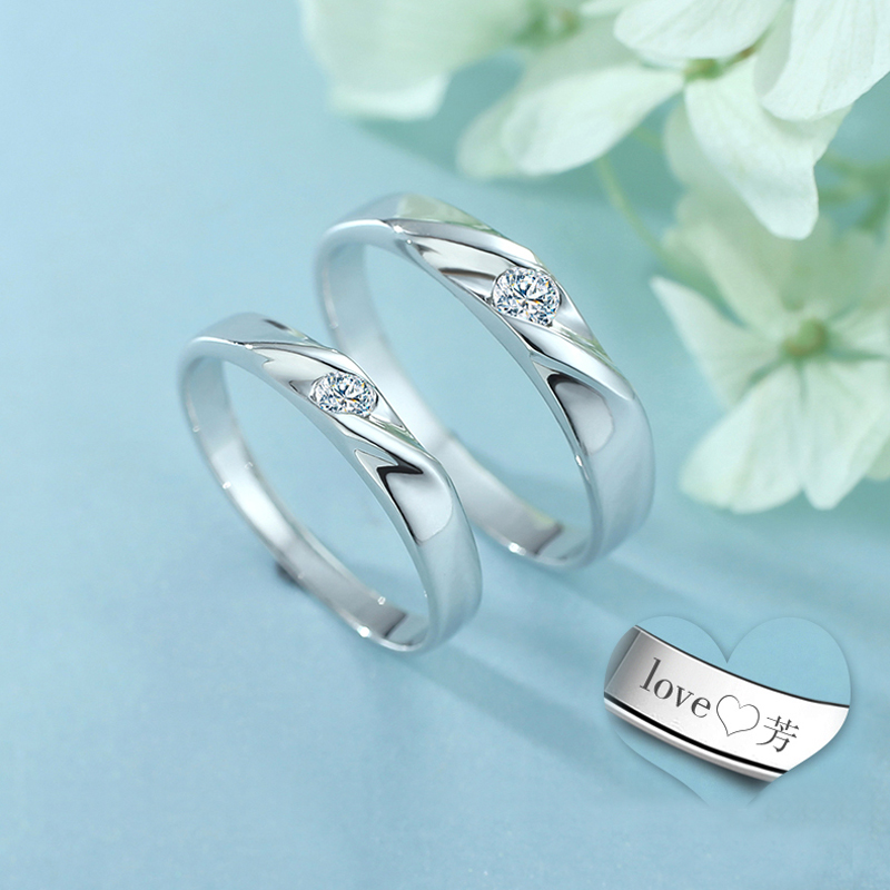 simple wave promise rings for couples 925 sterling silver polished wedding ring band with cubic zirconia diamond matching couple jewelry set for him and - Simple Wedding Rings For Her