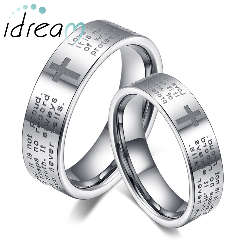 Flat White Tungsten Wedding Bands Set Holy And Cross Engraved Carbide Ring