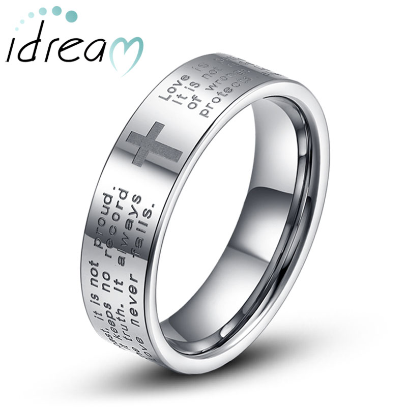 holy bible and cross laser engraved tungsten wedding bands flat tungsten carbide wedding ring band - Tungsten Wedding Rings For Men