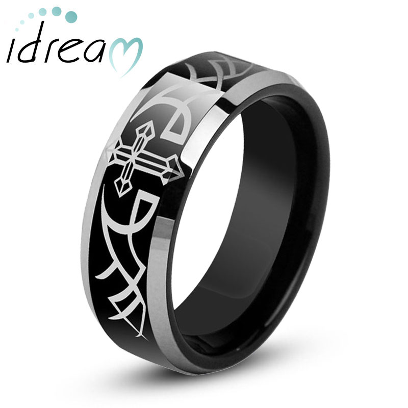 Cross + Wing Engraved Tungsten Wedding Band for Men, Black Tungsten Carbide Wedding Ring with White Beveled Edges, Matching His and Hers Jewelry Set for Couples