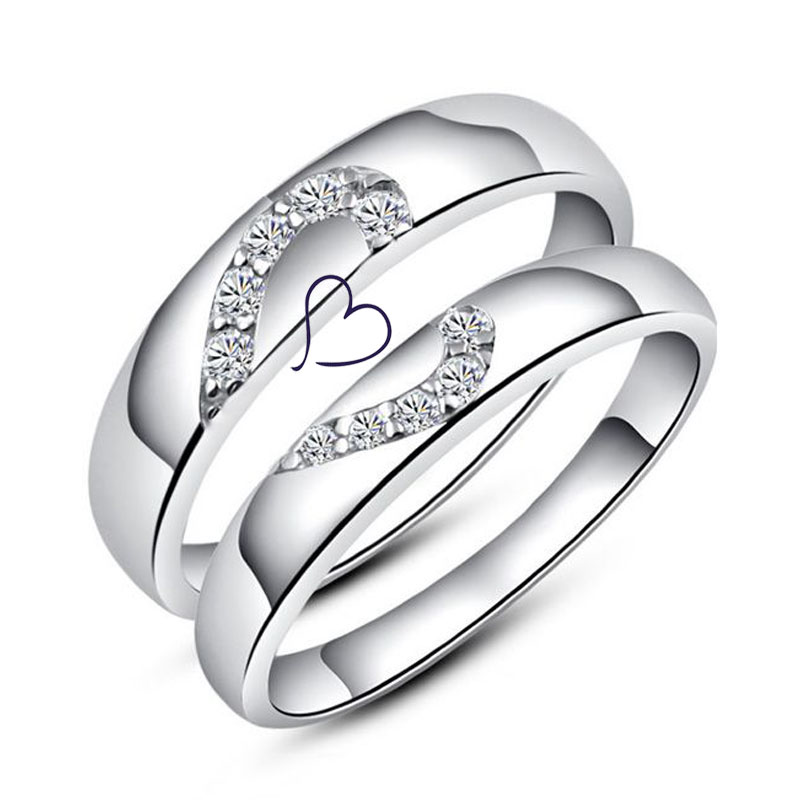 Half Heart Couple Rings Set for Women and Men, Sterling Silver Love Heart Promise Rings with Diamond Accents, Matching His and Hers Jewelry for Couples