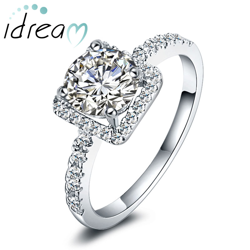 Cubic Zirconia Diamond Couple Engagement Ring for Women, Sterling ...