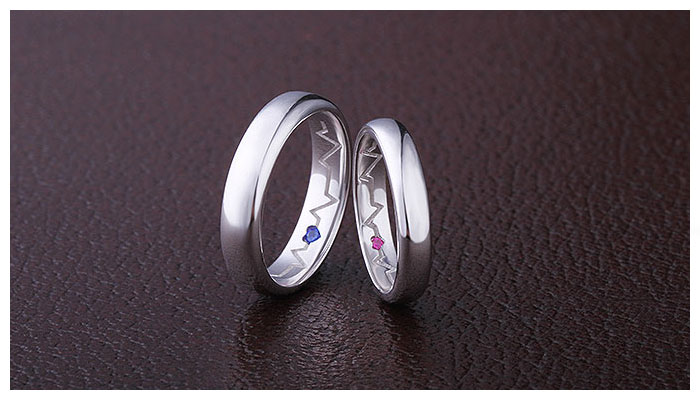 inside heartbeat engraved promise rings for couples  sterling silver polished domed wedding ring