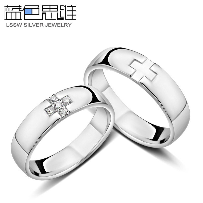 Blue Sweet Couple Rings  Personalized Cross Rings for Women and Men   Sterling Silver CrossBlue Sweet Couple Rings  Personalized Cross Rings for Women and  . Mens Cross Wedding Band. Home Design Ideas