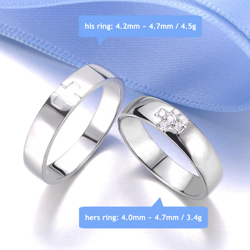 Blue Sweet Couple Rings Personalized Cross Rings for Women and Men