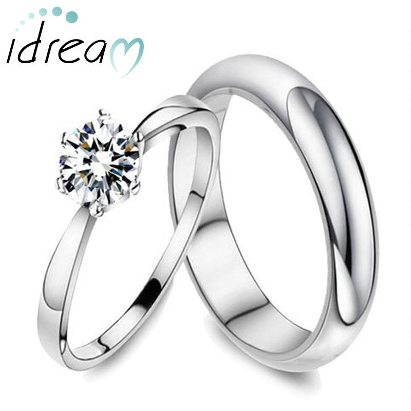 Polished Domed Wedding Band + Cubic Zirconia Diamond Engagement Ring Set,  Simple Promise Ring In
