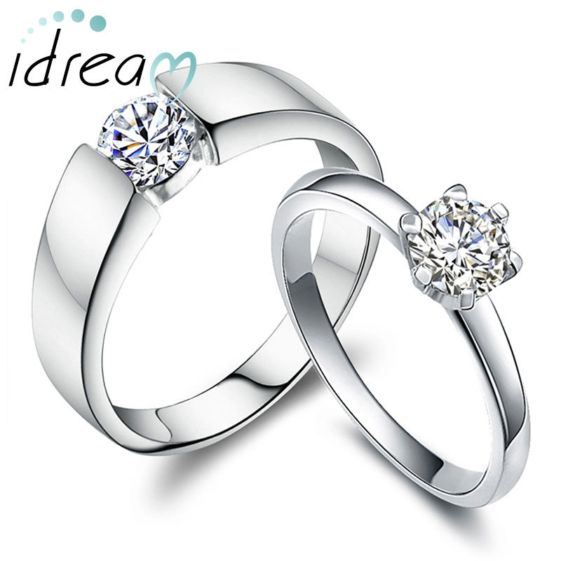 polished domed wedding band cubic zirconia diamond engagement ring set simple promise ring in 925 sterling silver matching his and hers jewelry for - Engagement Ring And Wedding Band Set