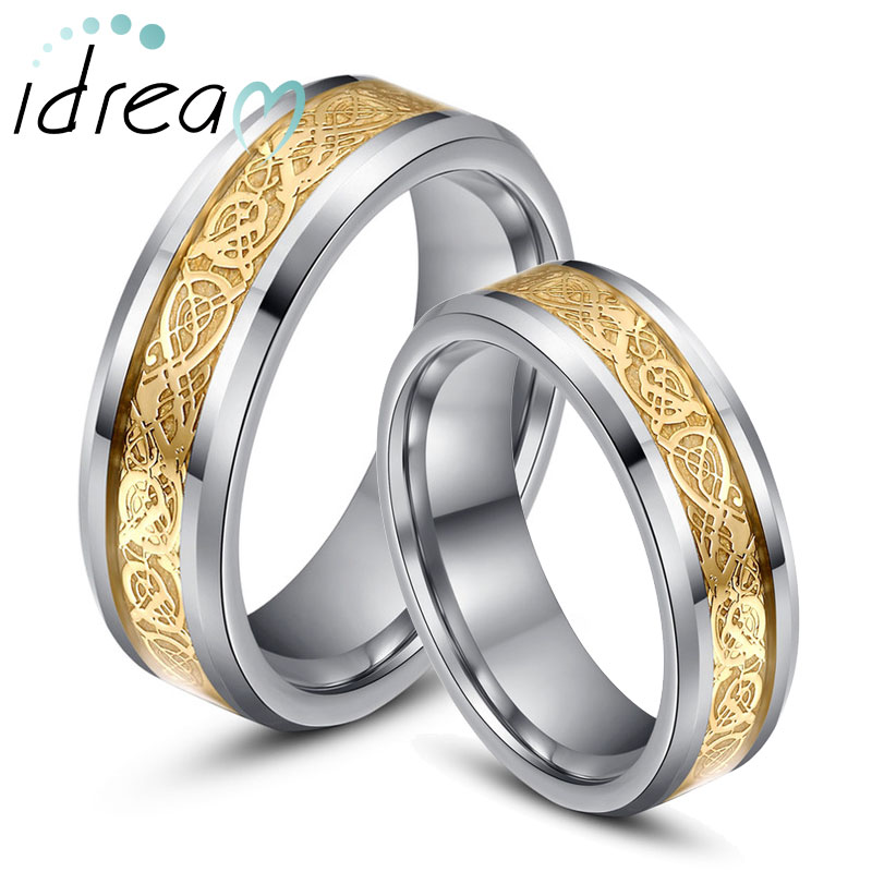 Gold Celtic Dragon Inlaid Tungsten Wedding Bands Set For Women Men Beveled Edge