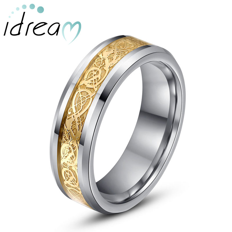 Gold / White Celtic Dragon Inlay Tungsten Wedding Bands, Beveled-Edge Tungsten Carbide Wedding Ring Band - 6mm - 8mm, Matching His and Hers Jewelry Set for Couples