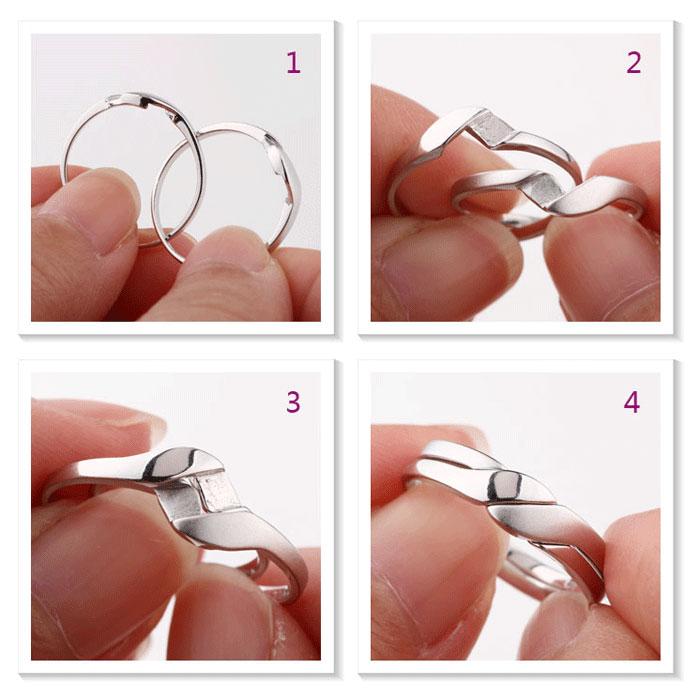 Interlocking Infinity Promise Rings for Couples Polished Brushed Finish We