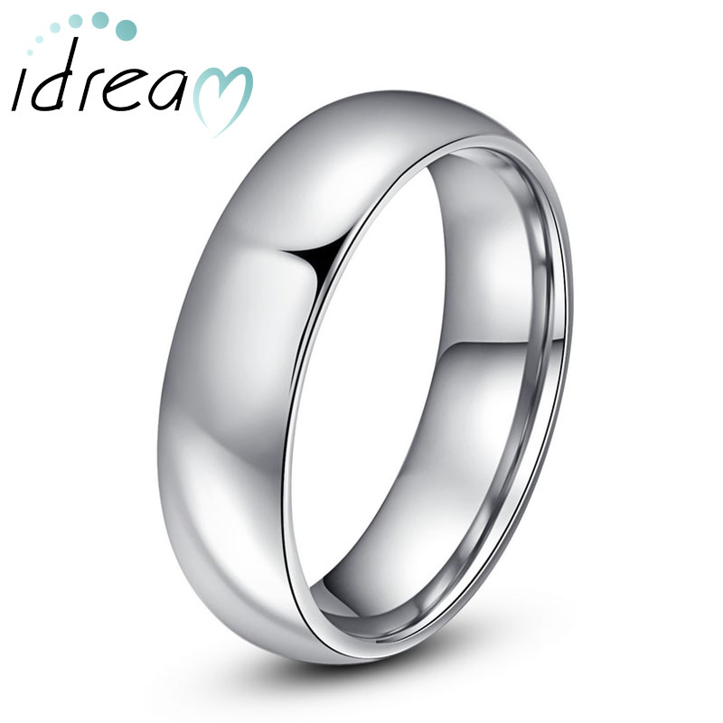 Personalized Tungsten Wedding Bands, Polished Tungsten Carbide Wedding Ring Band with Domed Profile - 4mm - 6mm, Matching Couple Jewelry Set for Him and Her
