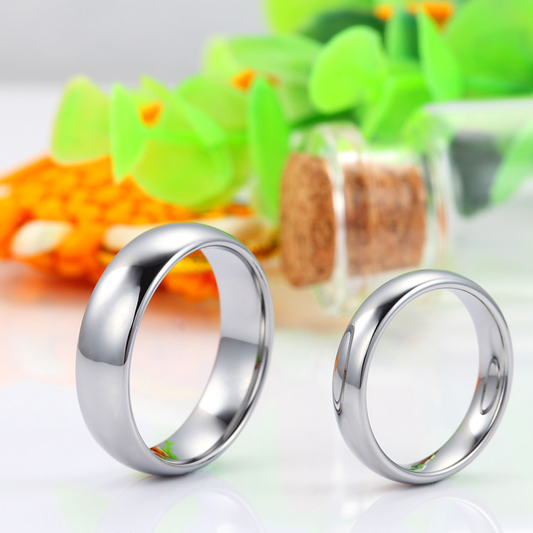 Personalized Tungsten Wedding Bands Polished Carbide Ring Band With Domed Profile 4mm