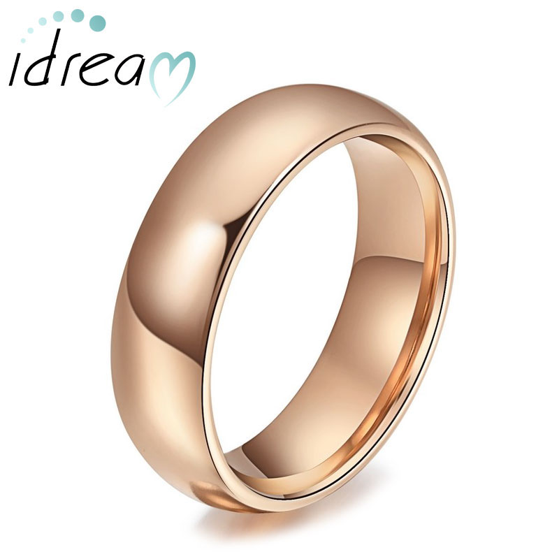Engravable Tungsten Wedding Bands, Domed Rose Gold / Gold / Black Tungsten Carbide Wedding Ring Band - 4mm - 6mm, Matching Couple Jewelry Set for Him and Her
