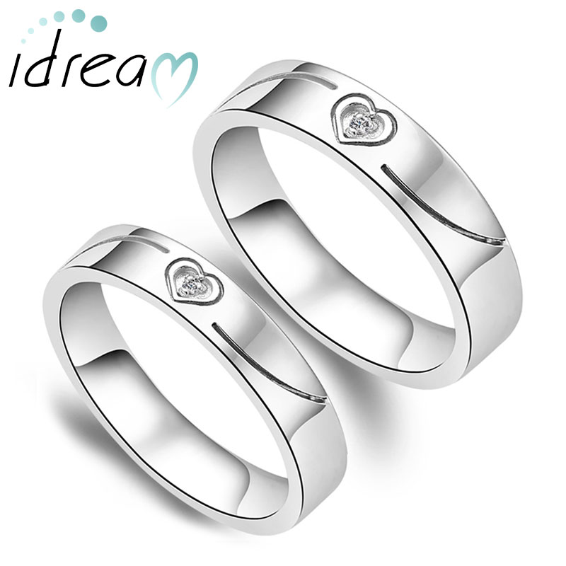 Love Heart Engraved Couple Wedding Bands Set for Women and Men
