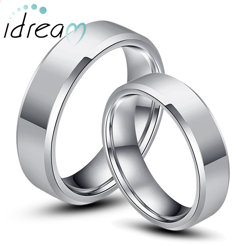 Tungsten Wedding Bands, Personalized Tungsten Carbide Wedding Rings Set for Men and Women, Polished Flat Beveled-Edge Ring - 4mm - 8mm, Matching Jewelry for Couples