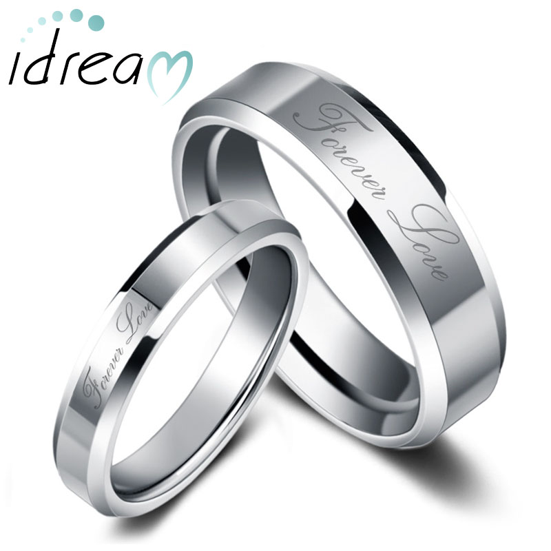 Forever Love Engraved Tungsten Wedding Bands Set for Women and Men, Tungsten Carbide Wedding Ring Band with Beveled Edges - 4mm - 8mm, Matching His and Hers Jewelry for Couples