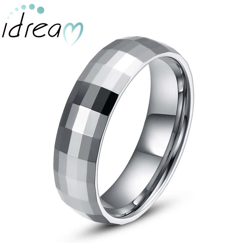 Faceted + Domed Tungsten Wedding Band for Women or Men, White Tungsten Carbide Wedding Ring Band - 2mm - 6mm, Matching His and Hers Jewelry Set for Couples