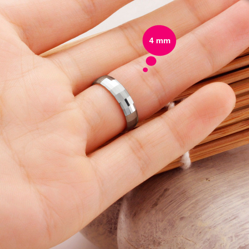 Faceted Domed Tungsten Wedding Band For Women Or Men White Carbide Ring