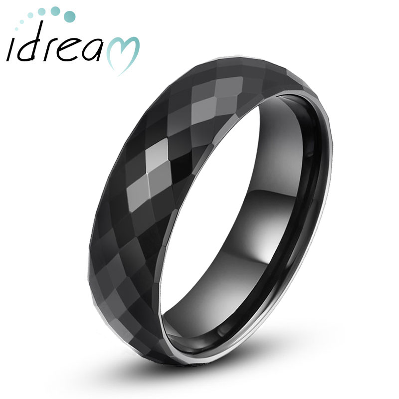 Black Faceted Domed Tungsten Wedding Bands Unique Carbide Ring Band For Men