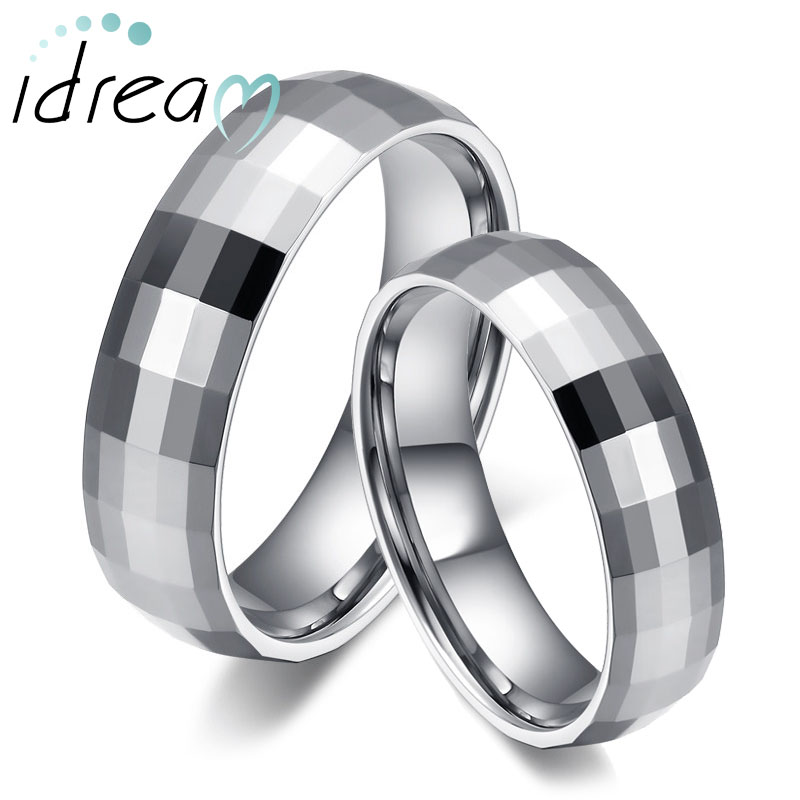 Faceted + Domed Tungsten Wedding Bands Set, White Tungsten Carbide Wedding Ring Band for Women and Men - 2mm - 6mm, Matching His and Hers Jewelry for Couples