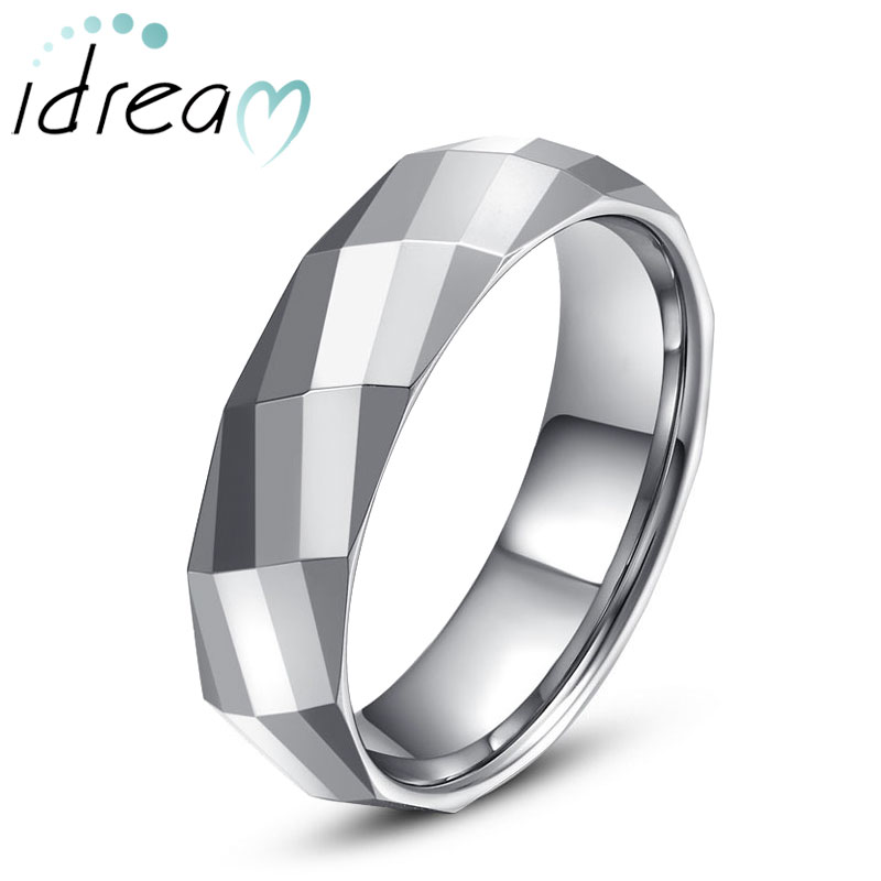 Eternity Multi Faceted Tungsten Wedding Bands Personalized Carbide Ring Band For Men Or